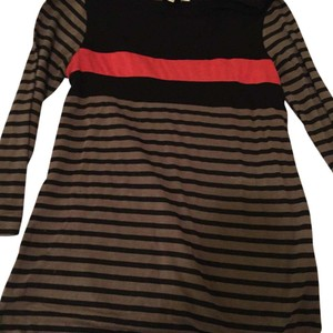 Charming Charlie Top black with grey and red stripes