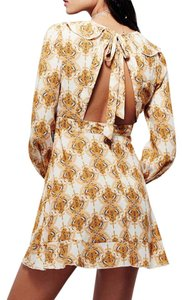 Free People short dress Yellow Fp Printed Mini Long Sleeve Golden Smooth Operator New Tunic Spring on Tradesy