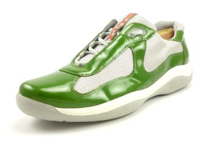 Prada Green Mens Patent Leather Mesh Lace Up Sneakers Shoes