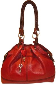 Fossil Red Leather Lined Large Hobo Bag