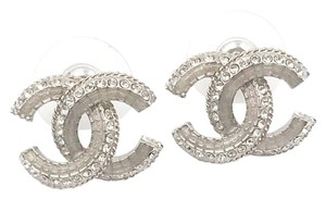 Chanel Chanel Classic Silver CC Pale Pink Crystal Piercing Earrings