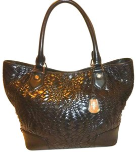 Cole Haan Woven Leather X-lg Genevieve Euc Refurbished Hobo Bag
