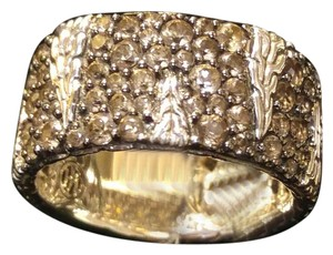 John Hardy Palu Macan Sterling Silver & Smoky Quartz Lava Band Ring