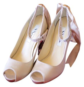 Nina Shoes Peep Toe Ankle Strap Satin Bow Tie Wedding Champagne Pumps