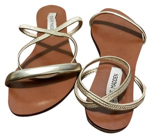 Steve Madden Strappy Crisscross Strap Ankle Strap Gold & Tan Sandals