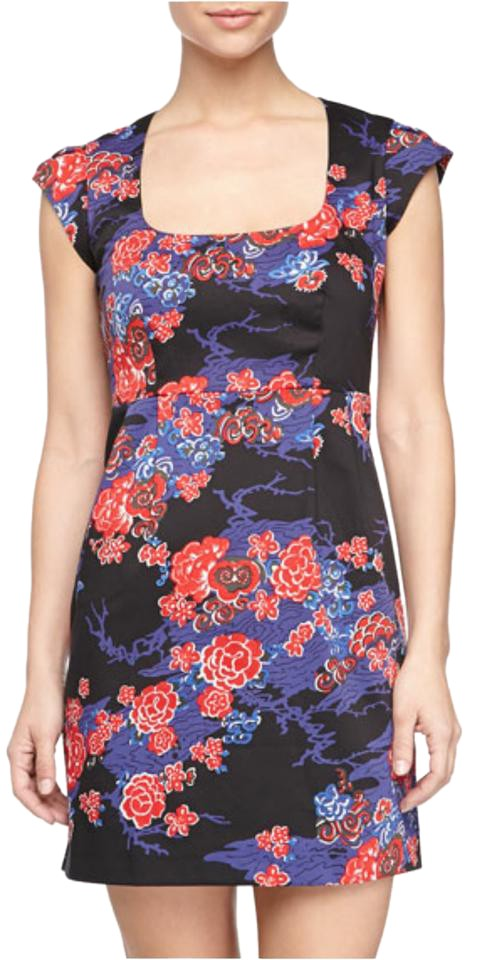 French Connection Black Multi Floral Cap Sleeve Short Night Out