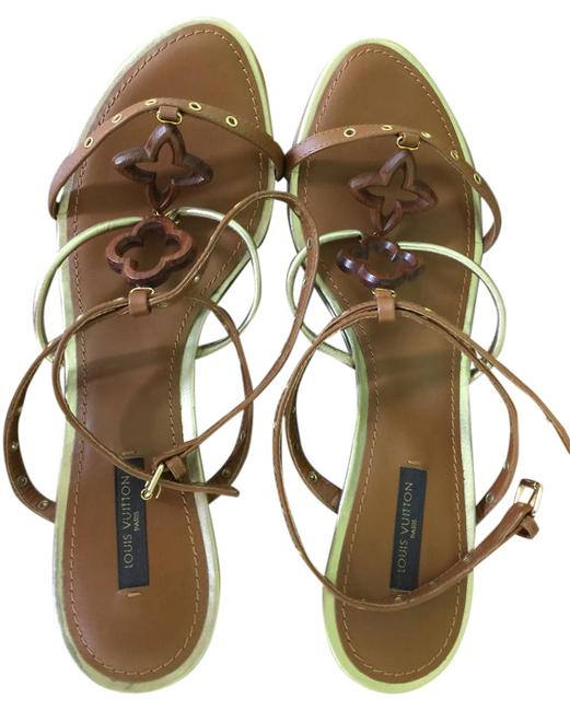 Item - Brown/Gold Andalucia Wedge Sandals Size US 10 Narrow (Aa, N)