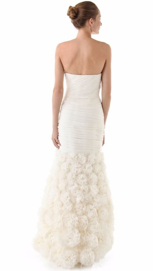 Theia Ivory Silk 890092 Strapless Rosette Gown Feminine Wedding Dress Size 4 (S) Image 1