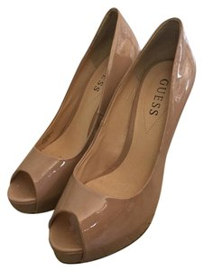 Guess Patent Leather Ultra High Stiletto Tan Platforms