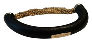 Michael Kors Michael Kors Luxe Black Leather Gold tone Chain Bracelet NEW WITH TAGS