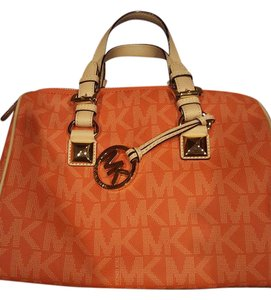 Michael Kors Signature Leather Monogram Satchel in Orange