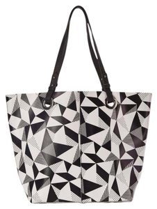 Dolce Vita Geometric Leather Blavk & White Tote in Black white