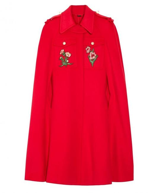 Item - Red Emboridered Wool Poncho/Cape Size 2 (XS)