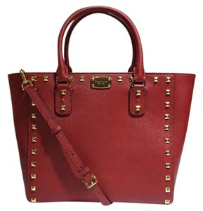 Michael Kors Mk Saffiano Leather Red Studded Strap Tote in Cherry
