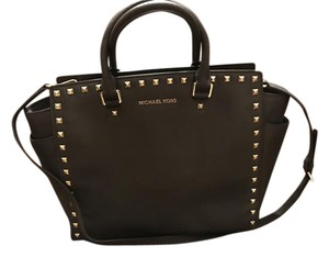 Michael Kors Selma Leather Studded Tote in chocolate brown w/ gold studs