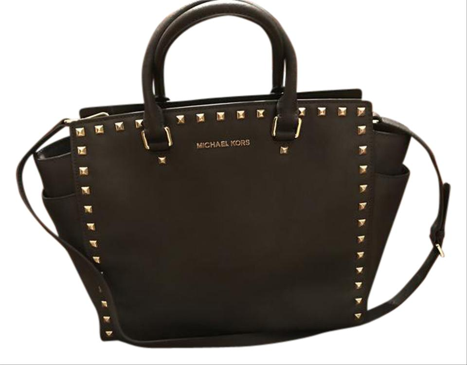 c7e56cbb9c Michael Kors Selma Leather Studded Tote in chocolate brown w  gold studs  Image 0 ...