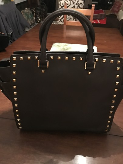 Michael Kors Selma Leather Studded Tote in chocolate brown w/ gold studs Image 2