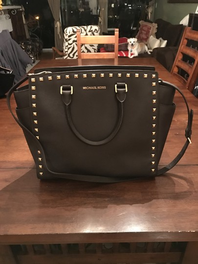 Michael Kors Selma Leather Studded Tote in chocolate brown w/ gold studs Image 4