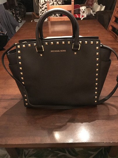Michael Kors Selma Leather Studded Tote in chocolate brown w/ gold studs Image 6