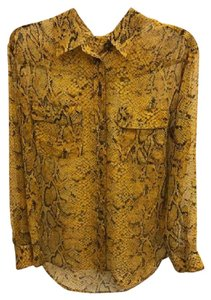 Equipment Snakeskin Sheer Button Down Shirt Yellow