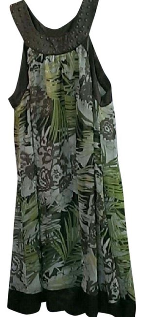 Item - Green and Brown W & Summer W/ Decorative Neckline Mid-length Casual Maxi Dress Size 16 (XL, Plus 0x)