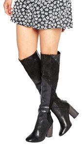 Free People Leather Tall Black Boots
