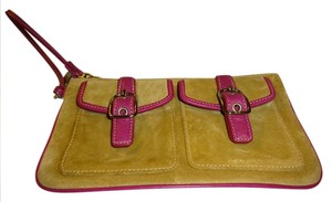 Coach Wristlet in Tan & Fuchsia
