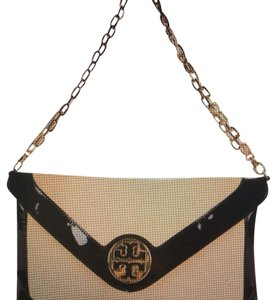 Tory Burch black/gold/beige Clutch