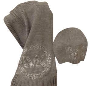 Michael Kors Embossed Knit Scarf & Beanie Hat SET