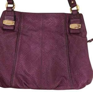 B. Makowsky B. Woven Leather Basket Weave Sale Tote in Burgundy