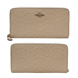 Coach Coach Signature Debossed Patent Leather Accordion Zip Wallet Platinum
