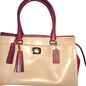 Coach Satchel in Tan/Burgundy