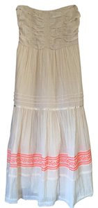 Cream Colored Maxi Dress by Free People Smocked Embroidered Neon Midi Boho