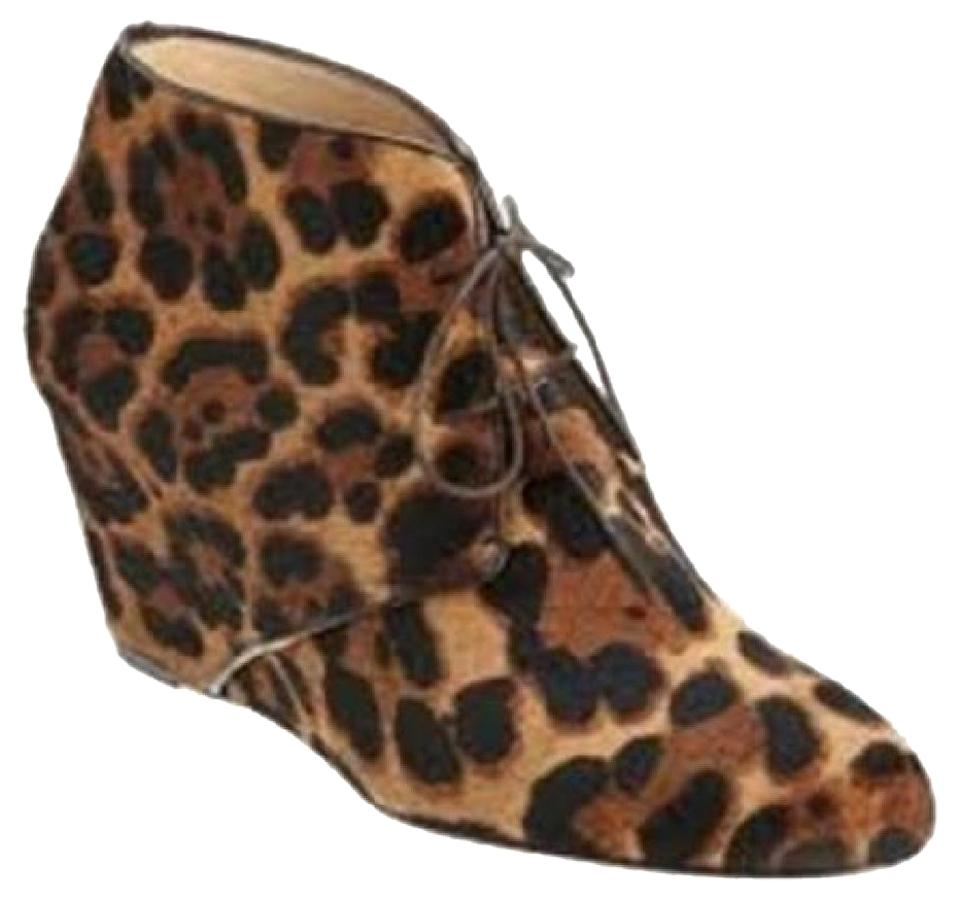 c1f686b6e08 Christian Louboutin Leopard Compacta Pony Hair Lace Up Wedge Heel  Boots/Booties Size EU 35 (Approx. US 5) Regular (M, B) 48% off retail