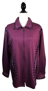 Bob Mackie Aztec Zip Front Art To Wear Embroidered Size 14 Purple Jacket