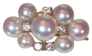 Mikimoto ESTATE DIAMOND AND PEARL 18 KT RING WITH ORIGINAL BOX