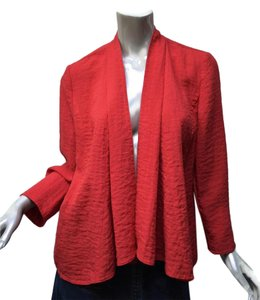 Chico's Swing Layering Cascade Textured Non-iron Red Jacket