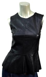 Urban Outfitters Co Vinyl Peplum Sleeveless Fitted Top Black