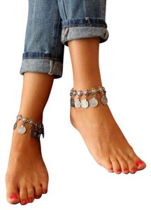 Other New Silver Tone Coin Charm Anklet `10 Inch Chunky J3139