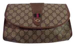 Gucci Cosmetic Great For Travel Early Vintage G.a.c. Dressy Or Mint Vintage brown leather/large G logo print coated canvas & red/green striped accent Clutch