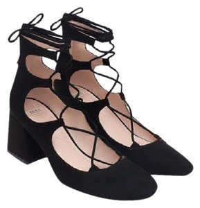 Zara Heel Suede Lace-up Heel Black Pumps