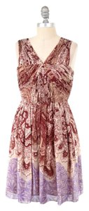 Tibi Paisley Gathered Silk Chiffon Fit & Flare Mini Dress