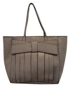 Zac Posen Glossed Polka Dot Textured Structured Tote in cream, bl'ack