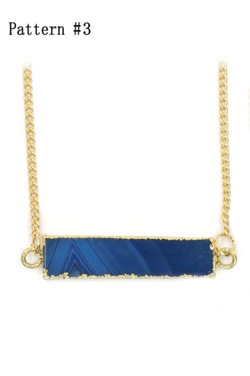 Ocean Fashion Fashion natural stone golden necklace Pattern #3 Image 3