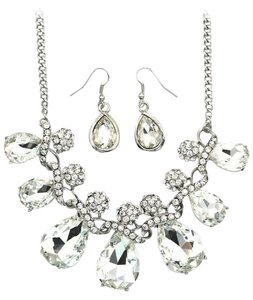 Ocean Fashion Noble cobblestone crystal necklace earrings silver sets