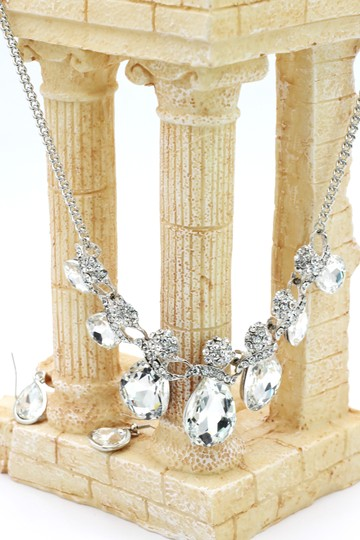 Ocean Fashion Noble cobblestone crystal necklace earrings silver sets Image 1