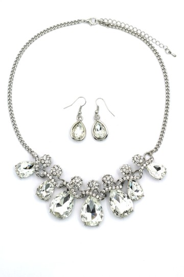 Ocean Fashion Noble cobblestone crystal necklace earrings silver sets Image 2