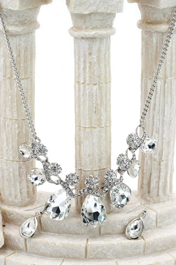 Ocean Fashion Noble cobblestone crystal necklace earrings silver sets Image 3