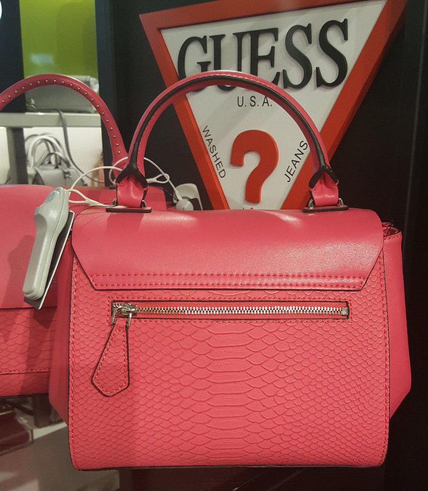 04e2f855d1cb4 Guess Evette Embossed Satchel Tote Shoulder Passion Pink Faux ...