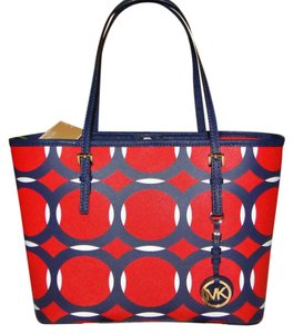 Michael Kors Jet Set Pink Designer Tote in Red navy